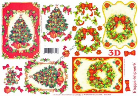 Christmas Tree & Holly Wreath Designs 3d Decoupage Sheet